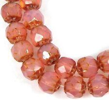 25 Czech Glass Renaissance Firepolish Beads 6mm : Milky Translucent Pink - Picas