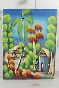 Haitian Art Village Landscape Oil Painting Artist Signed Stretched Canvas