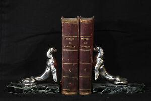 Serres-livre en bronze argenté 1925 signé Maurice Frécourt / bookend 1925