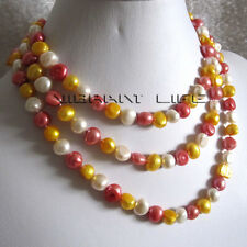 """50"""" 8-10mm White Gold Red Baroque Freshwater Pearl Necklace U"""