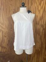 J. Crew Women's Size S Solid White Cotton Blouse Short Sleeve Black Ribbon