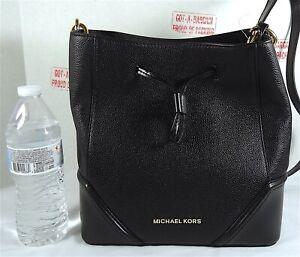 Michael Kors Nicole Black Pebbled Leather Large Bucket Messenger Crossbody Bag