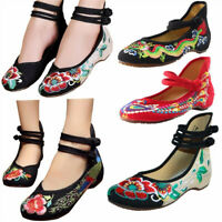 Women's Ladies Soft Chinese Embroidered Casual Ballerina Mary Jane Flat Shoes