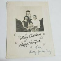 Vintage Merry Christmas Happy New Year Family Photo Postcard 1950s 1960s