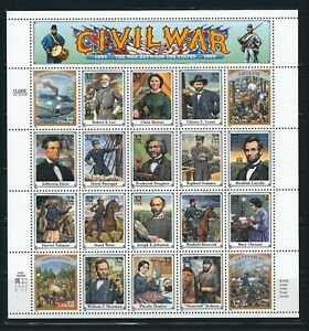USA CIVIL WAR SHEET WITH 25 DIFFERENT STAMPS MNH