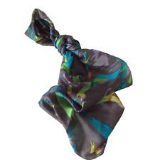 100% silk black & multi-coloured scarf 180 x 50 cm
