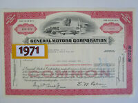 Classic 1971 GM GENERAL MOTORS Stock Certificate. Gift for Him. 1970s Auto Art