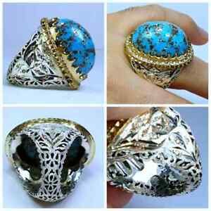 Genuine Feroza Firoozeh Turquoise 925 Silver Ring Hand Made Brilliants Diamonds