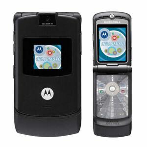 Motorola Razr V3 GSM Unlocked Cellular Phone Flip Mobile Phone Black Refurbished