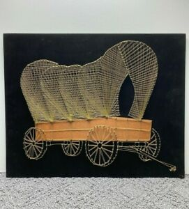 Vtg Gold String Art Covered Wagon Handmade Wood w Black Felt Back Wall Hanging