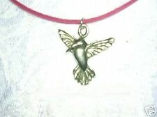 """NEW CUTE HUMMINGBIRD BIRD CAST PEWTER PENDANT ON 16"""" PINK SUEDE CORD NECKLACE"""