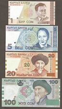 Kyrgyzstan 5, 1, 20, 100  Som 1997-2002; UNC; P-13, 15, 19, 21; set of 4 notes
