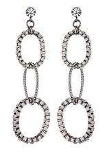 CLIP ON EARRINGS - gunmetal drop earring with three linked rings - Kaiya GM