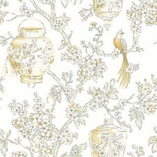 Serenity White and Yellow Birds and Lanterns Wallpaper Light Grey Branch FD22761