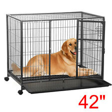 "NEW 42"" Heavy Duty Metal Dog Rolling Cage Crate Kennel Playpen FOR DOGS in Sizes"