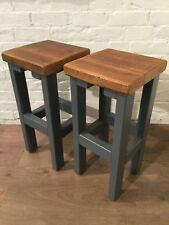 A Pair (x2) Hand Painted F&B Reclaimed Solid Wood Kitchen Island Bar Stools