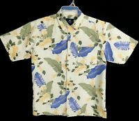Caribbean Joe Men's Hawaiian tropical shirt Rayon Aloha summer camp shirt MEDIUM