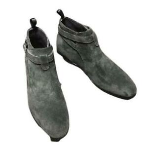 38-47 Mens Real Suede Leather Chelsea Boots Shoes Business Formal Chukka Party L
