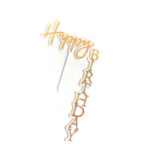 Acrylic Vertical Cake Topper DIY Happy Birthday Baking Card Party CakeDecoration