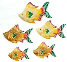 5 Tropical Fish Wall Sculpture, Teak Hand Carved wood Folk Art Fish Décor Home