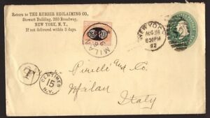 Regno, busta postale dagli USA del 1892 con segnatasse Mascherine da 30 c  -DS41