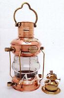 "Maritime Nautical  Ship Lantern 14"" Brass & Copper Anchor Oil lamp Boat Light"