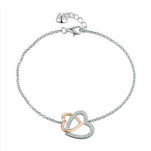 Women Double Heart AAA Cz 925 Sterling Silver Rose Gold Bracelet Bangle Chain