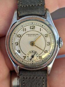 """Vintage 40s (?) Seiko Seikosha """"Chronometer"""" Manual Art Deco Watch, Works"""