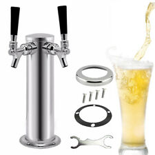 Double 2 Tap Draft Beer Tower Kegerator Dual Chrome Faucet Stainless Steel