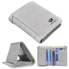 Men's Slim RFID Blocking Vintage Leather Trifold Wallet Credit Card ID Holder