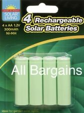 4x AA Rechargeable Solar Power Batteries 1.2V 300 mah NI-MH Garden Summer Light