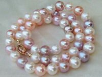 """7-8mm pink purple white Multicolor Akoya Cultured Pearl Necklace 18"""""""