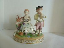 Antique DRESDEN Figurine Man & Woman w/ Goat Signed Potschappel Carl Thieme
