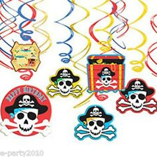 PIRATE Shiny Hanging SWIRL DECORATIONS (12pc) ~ Birthday Party Supplies