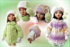 """14"""" Kish Wren, Lark + dolls Swing Coat, fingerless gloves & hats PATTERN"""