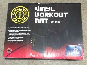 Gold's Gym 2' x 6' Black Vinyl Easy Fold Workout Exercise Fitness Yoga Mat