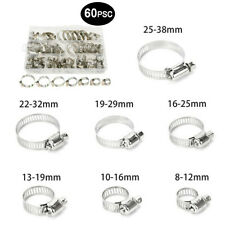 60pcs Stainless Steel Ear Hose Clamps Fuel Air Pipe O-Clips 7 Size Kits for Car