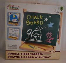 FIRST LEARNING Co.  Wooden Double-Sided DRAWING BOARD with tray ages 3 + new
