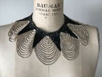 Vintage Ethnic Tribal African Beaded Bib Choker Necklace Handmade Black and Silv