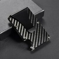 RFID Blocking Carbon Fiber Minimalist Slim Money Clip Front Pocket Mens Wallet