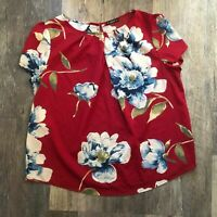 Shein | Red Floral Top Womens 2X