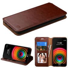 For LG K6 X Power Phone Leather Wallet Case Cover Pouch Stand Card Fold Brown