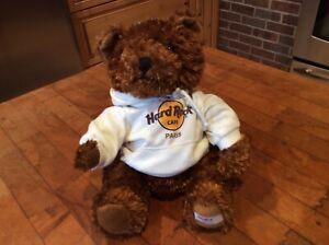 "Hard Rock Cafe Paris 9"" CLASSIC Teddy Bear w/ Hoodie Plush Stuffed Animal New"