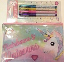 Unicorn Large Pencil Case  and 4 Gel Pens
