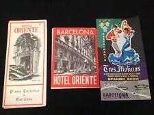 2 X VINTAGE HOTEL ORIENTE HOTEL BARCELONA LEAFLET BROCHURES