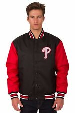MLB Philadelphia Phillies  Poly Twill Jacket Patch Logos JH Design Black Red new