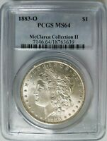 1883 O Silver Morgan Dollar PCGS MS 64 McClaren Collection Hoard Pedigree Coin