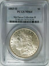 1883 O Silver Morgan Dollar PCGS MS 64 McClaren Collection Hoard Pedigree Coin