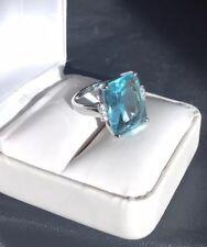 HUGE 16.4 Ct Aquamarine Ring, Emerald Step Cut W/ Diamonds 925 SS +Free Earring