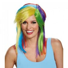 Womens Rainbow Dash Wig My Little Pony Cosplay Multi-Color Hair Pride Adult NEW